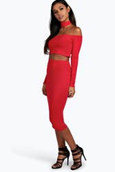 Boohoo Off The Shoulder Top Mini Skirt Co Ord Set Red