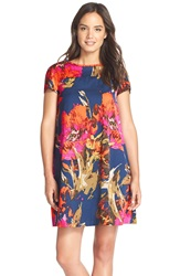 Trina Turk 'Watteau' Pleated Back Faille Trapeze Dress Blue Multi