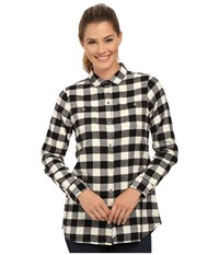 Woolrich Buffalo Check Boyfriend Shirt Wool Cream Buffalo Women's Long Sleeve Button Up Yellow