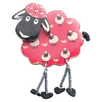 One Button Sheep Legs Brooch Red