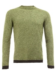 The Elder Statesman Contrast Trim Knit Sweater Green