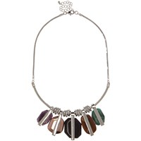 River Island Womens Silver Tone Gemstone Statement Necklace