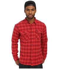 Brixton Bowery Long Sleeve Flannel Red Black Combo Men's Long Sleeve Button Up