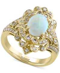 Effy Collection Aurora By Effy Opal 9 10 Ct. T.W. And Diamond 1 2 Ct. T.W. Ring In 14K Gold