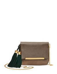 Brian Atwood Julian Leather Mini Crossbody Bag Pewter