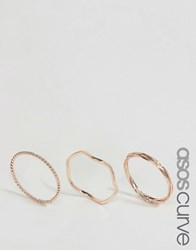 Asos Curve Pack Of 3 Plaited Ring Pack Rose Gold Copper
