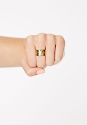 Missguided Alix Large Engraved Emoji Ring Gold Gold