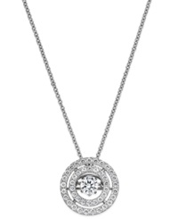 Twinkling Diamond Star Diamond Double Circle Pendant Necklace In 14K White Gold 3 8 Ct. T.W.