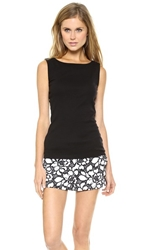 Three Dots Sleeveless Boat Neck Top Black