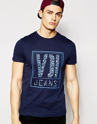 Voi Jeans Printed T Shirt Navy
