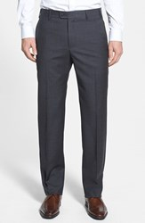 Men's Big And Tall Zanella 'Devon' Flat Front Wool Trousers Dark Grey