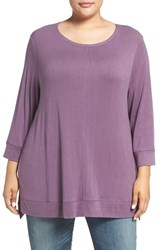 Caslonr Plus Size Women's Caslon Three Quarter Sleeve Modal Blend Knit Top Purple Vintage