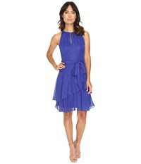 Tahari By Arthur S. Levine Keyhole Halter Neck W Tiered Skirt Cobalt Women's Dress Blue