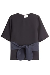 Victoria Victoria Beckham Crepe Top With Silk Sash And Bow Black