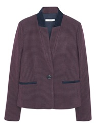 Mango Houndstooth Wool Blazer Dark Red