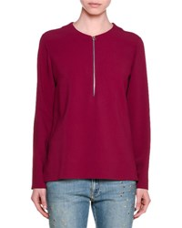 Stella Mccartney Long Sleeve Half Zip Cady Top Raspberry
