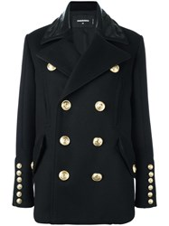 Dsquared2 'Military' Double Breasted Coat Black