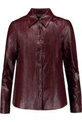 Rag And Bone Faye Leather Shirt Brown