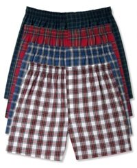 Hanes Platinum Men's Underwear Plaid Woven Boxer 4 Pack Dark Tartan Plaid Assorted