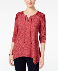 Styleandco. Style Co. Lace Detail Handkerchief Hem Top Only At Macy's Deep Scarlet