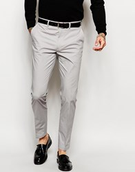 Asos Skinny Suit Trousers In Grey Poplin Grey