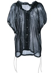 Ann Demeulemeester Printed Sheer Silk Top Black