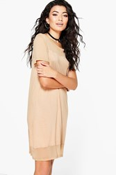 Boohoo Mesh Panel T Shirt Dress Stone