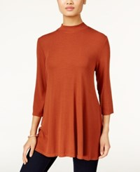 Styleandco. Style Co. Mock Neck Ribbed Top Only At Macy's Rich Auburn