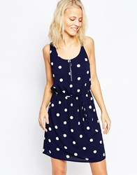 Y.A.S Polka Dot Drawstring Waist Dress Navy