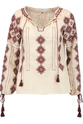 Chelsea Flower Embroidered Cotton Gauze Blouse Off White