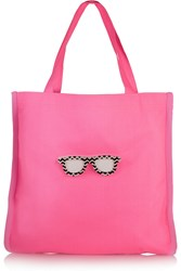 Koku Fay Appliqued Neon Canvas Tote Pink