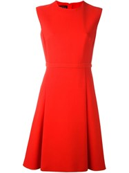 Giambattista Valli Box Pleat Dress Red