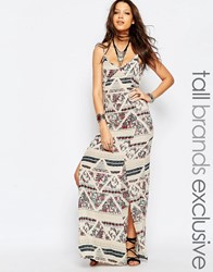 Glamorous Tall Folk Print Cami Maxi Dress With Lace Overlay Multi