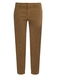 Nili Lotan Tel Aviv Stretch Cotton Twill Cropped Trousers Tan