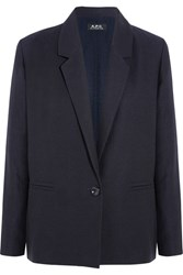 A.P.C. Atelier De Production Et De Creation Jacqueline Linen And Cotton Blend Blazer Midnight Blue