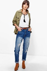 Boohoo High Waist Distressed Boyfriend Jeans Dark Blue