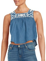 Lovers Friends Denim Crop Tank Top Blue Lagoon