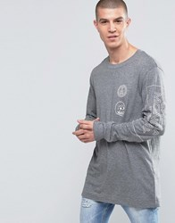 Cheap Monday Yard Long Sleeve Top Skull Logo Grey Grey Melange