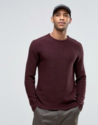 Selected Crew Neck Textured Knitted Jumper Red