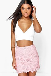Boohoo Narissa Crochet Mini Skirt Blush
