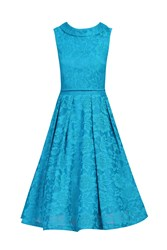 Jolie Moi Lace Bonded Overlay 2 In 1 Dress Teal