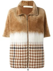 Drome Checked Detail Zipped Coat Nude Neutrals
