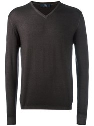 Fay V Neck Fine Knit Jumper Brown