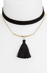 Jules Smith Designs Women's 'Odin' Tassel Choker Gold Black