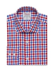 T.M.Lewin Check Slim Fit Long Sleeve Classic Collar Formal Red