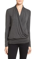 Amour Vert Women's 'Angela' Long Sleeve Wrap Front Top