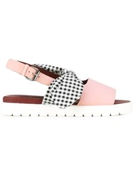 Mother Of Pearl Gingham Check Bow Sandals Pink And Purple