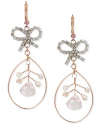 Betsey Johnson Bow And Imitation Pearl Orbital Eurowire Earrings