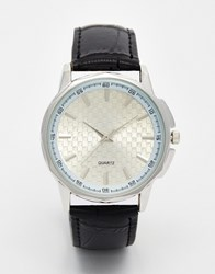 Reclaimed Vintage Checkerboard Face Leather Watch Black