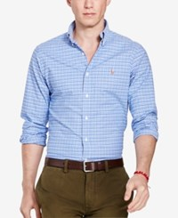 Polo Ralph Lauren Men's Long Sleeve Slim Fit Checked Stretch Oxford Shirt Blue Navy Multi
